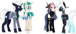 Size: 2960x1334 | Tagged: safe, artist:sychia, oc, oc only, oc:al.ii, oc:cyber heart (ice1517), oc:cyber-wave, oc:hack tool, cyborg, cyborg pony, earth pony, pony, robot, robot pony, unicorn, amputee, armor, binary, boots, chinese, clothes, colored sclera, commission, confused, ear piercing, earpiece, earring, eyepatch, female, headphones, heart, jacket, jewelry, leather jacket, male, mare, open mouth, piercing, prosthetic horn, prosthetic limb, prosthetics, question mark, raised hoof, shocked, shoes, simple background, stallion, sunglasses, tanktop, transparent background, vest, watch, wristwatch