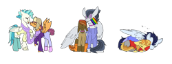 Size: 8774x3300 | Tagged: safe, artist:bublebee123, artist:icey-wicey-1517, color edit, edit, braeburn, button mash, rumble, scootaloo, soarin', terramar, earth pony, hippogriff, pegasus, pony, :3, boop, choker, clothes, collaboration, colored, cuddling, cute, ear piercing, earring, eyes closed, gay, gay pride, gay pride flag, half r63 shipping, hat, headband, hoodie, hug, jeans, jewelry, lip piercing, male, mouth hold, nose piercing, nose ring, noseboop, older, older button mash, older rumble, older scootaloo, older terramar, onomatopoeia, pants, piercing, poop, pride, pride flag, rule 63, rumblemash, scarf, scooteroll, sharing scarf, shipping, simple background, sitting, sleeping, soarburn, socks, sound effects, stallion, terraloo, terraroll, tongue out, trans boy, transgender, transparent background, wall of tags, winghug, z, zzz