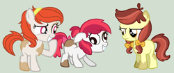 Size: 1624x684 | Tagged: safe, artist:strawberry-spritz, oc, oc:api apple, oc:audine tone, oc:butterscotch blossom, earth pony, pony, base used, blank flank, bow, derp, female, filly, frown, gray background, grin, hair bow, hairband, interdimensional siblings, laughing, offspring, parent:apple bloom, parent:pipsqueak, parents:pipbloom, piebald colouring, raised hoof, simple background, smiling, unamused