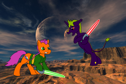 Size: 1920x1280 | Tagged: safe, artist:chili19, oc, oc only, oc:maurus, oc:orange sky, earth pony, pony, unicorn, bipedal, braid, clothes, crossover, desert, duo, fight, frown, lightsaber, moon, star wars, weapon