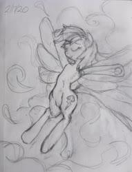 Size: 3024x3968   Tagged: safe, artist:riskypony, rainbow dash, armpits, cloud, cutie mark, eyes closed, sketch, traditional art