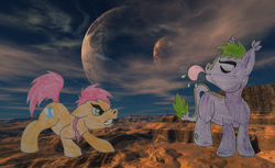 Size: 1105x677 | Tagged: safe, artist:chili19, oc, oc only, oc:maurus, oc:orange sky, earth pony, pony, angry, colt, desert, duo, eyes closed, male, moon, tongue out, traditional art