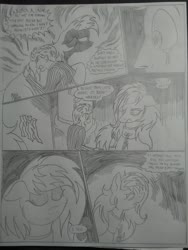 Size: 1944x2592 | Tagged: safe, artist:princebluemoon3, oc, oc:rainbow tashie, oc:tommy the human, earth pony, human, pony, comic:the chaos within us, black and white, blood, canterlot, canterlot castle, chains, clothes, collar, comic, commissioner:bigonionbean, cutie mark, dialogue, drawing, dream, embedded, female, fluids, frightened, grayscale, hug, human oc, mare, monochrome, night, nightmare, scared, traditional art, writer:bigonionbean
