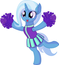 Size: 6188x6832 | Tagged: safe, artist:cyanlightning, trixie, pony, unicorn, 2 4 6 greaaat, spoiler:s09e15, .svg available, absurd resolution, bipedal, cheerleader, cheerleader trixie, clothes, cute, diatrixes, ear fluff, female, mare, pleated skirt, pom pom, simple background, skirt, smiling, solo, transparent background, vector