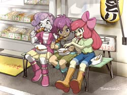 Size: 2048x1534 | Tagged: safe, artist:babtyu, apple bloom, scootaloo, sweetie belle, equestria girls, boots, clothes, eating, food, japan, jeans, pants, shoes, sitting, skirt