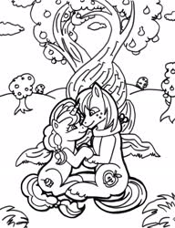 Size: 1600x2086 | Tagged: safe, artist:jamestkelley, big macintosh, sugar belle, earth pony, unicorn, 30 minute art challenge, apple, apple tree, cloud, couple, cute, female, heart, holding hooves, intertwined trees, lineart, love, male, mare, monochrome, orchard, pear tree, shipping, smiling, stallion, straight, sugarmac, sweet apple acres, tree