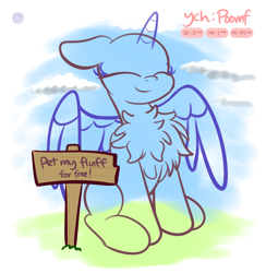Size: 2496x2560 | Tagged: safe, artist:kimjoman, alicorn, pegasus, pony, unicorn, any species, chest fluff, commission, cute, eyes closed, female, male, sign, sitting, solo, spread wings, text, wings, ych sketch, your character here