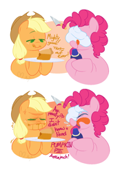 Size: 836x1204   Tagged: safe, artist:hyperfixatins, earth pony, comic, dialogue, food, licking, plate, pumpkin pie, reddi wip, tongue out, whipped cream