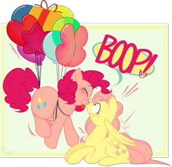Size: 1643x1597 | Tagged: safe, artist:hyperfixatins, artist:pillsburries, fluttershy, pinkie pie, earth pony, pegasus, pony, balloon, boop, dialogue, female, floating, flutterpie, flying, heart, lesbian, mare, ms paint, noseboop, prone, shipping, sitting, surprise boop, then watch her balloons lift her up to the sky, tongue out