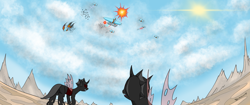 Size: 4096x1714 | Tagged: safe, artist:skydreams, changeling, airship, badlands, celestial dawn, explosion, lightning, mountain, mountain range, red changeling, royal equestrian skyguard