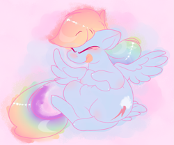 Size: 1191x993 | Tagged: safe, artist:hyperfixatins, rainbow dash, pegasus, pony, chubby, eyes closed, solo