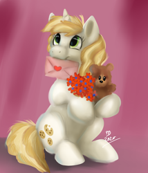 Size: 1920x2240   Tagged: safe, artist:tehtigress, sweet biscuit, pony, unicorn, adorabiscuit, cute, flower, heart, letter, looking up, sitting, teddy bear