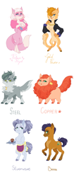 Size: 3139x7448 | Tagged: safe, artist:pikokko, oc, oc only, oc:brass, oc:copper, oc:gold fever, oc:platinum royal, oc:silverware, oc:steel, abyssinian, anthro, cat, cat pony, digitigrade anthro, hybrid, original species, pony, unguligrade anthro, abyssinian oc, apron, boa, cat eyes, clothes, ear piercing, earring, fangs, female, food, hair over one eye, interspecies offspring, jacket, jewelry, male, muffin, necklace, offspring, parent:capper, parent:oc:rose gold, parent:pinkie pie, parents:capperpie, piercing, siblings, simple background, slit eyes, white background