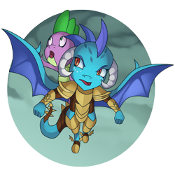 Size: 3600x3600 | Tagged: safe, artist:kenisu-of-dragons, princess ember, spike, dragon, gauntlet of fire, dragon armor, dragons riding dragons, flying, riding, scene interpretation, simple background, spread wings, transparent background, wings