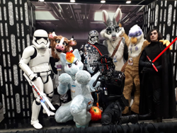 Size: 1280x960 | Tagged: safe, artist:neouka, photographer:sugarthemoo, gilda, rainbow dash, canada, captain phasma, clothes, cosplay, costume, fanexpo, first order, furry, fursuit, kylo ren, star wars, stormtrooper, sydneyroo(coser)