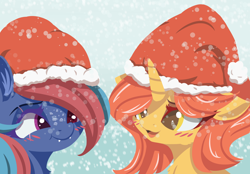 Size: 3800x2650 | Tagged: safe, artist:galinn-arts, oc, oc only, oc:centreus feathers, oc:cinderheart, dracony, dragon, hybrid, pony, unicorn, blushing, chest fluff, christmas, cute, cute little fangs, fangs, female, gift art, hat, high res, holiday, lesbian, lineless, mare, santa hat, scar, shipping, snow, snowfall