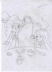 Size: 1280x1762 | Tagged: safe, artist:crock2121, pinkie pie, wallflower blush, equestria girls, alice in wonderland, bunny ears, cup, mad hatter, teacup, traditional art