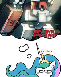 Size: 450x567 | Tagged: safe, artist:zsparkonequus, edit, editor:secrettitan, princess celestia, blushing, optilestia, optimus prime, simple background, solo, thought bubble, transformers, trucker ass