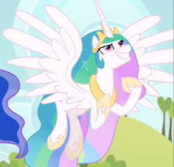 Size: 973x936 | Tagged: safe, screencap, princess celestia, between dark and dawn, spoiler:s09e13, cropped, faic, solo, spread wings, wings