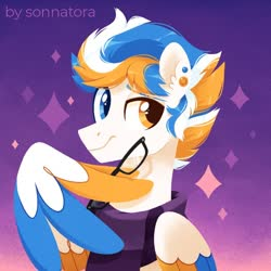 Size: 950x950 | Tagged: safe, artist:sonnatora, oc, oc only, pegasus, pony, bust, clothes, glasses, heterochromia, scarf, solo