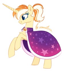 Size: 1160x1272 | Tagged: safe, artist:sonnatora, oc, oc only, pony, unicorn, cape, clothes, solo