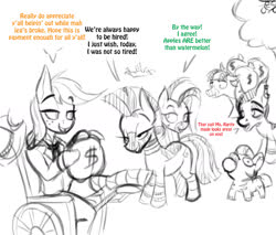 Size: 1427x1217 | Tagged: safe, artist:lil miss jay, applejack, zecora, oc, oc:bandy cyoot, oc:zeal lanatus, oc:zeta, oc:zizzie, earth pony, pony, zebra, applejack's plantation, broken leg, cast, dialogue, everything went better than expected, good end, leg cast, money bag, monochrome, mouth hold, neo noir, partial color, sketch, squatpony, wheelchair, zebra oc