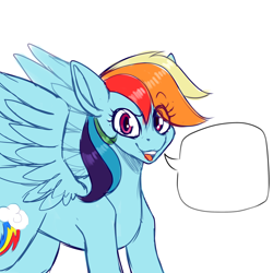 Size: 3000x3000 | Tagged: safe, artist:tuzz-arts, rainbow dash, pegasus, pony, open mouth, simple background, solo, speech bubble