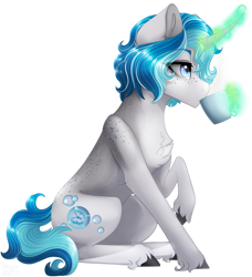 Size: 1571x1719 | Tagged: safe, artist:sharxz, oc, oc only, oc:bubble lee, pony, unicorn, coffee, commission, digital art, drinking, female, gift art, glowing horn, horn, magic, mare, simple background, solo, transparent background