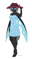Size: 2200x4000 | Tagged: safe, artist:tertonda, oc, oc only, oc:imago, anthro, changeling, unguligrade anthro, anthro oc, changeling oc, clothes, commission, cute, cute little fangs, cuteling, digital art, dress, exoskeleton, fangs, female, gift art, hat, missing accessory, ocbetes, simple background, smiling, solo, sun hat, sundress, transparent background