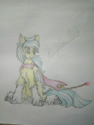 Size: 1080x1440 | Tagged: safe, artist:creature.exist, oc, oc:左岸, pegasus, pony, fluffy, photo, solo, traditional art