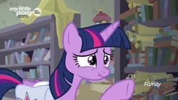 Size: 1920x1080 | Tagged: safe, screencap, twilight sparkle, alicorn, pony, the point of no return, spoiler:s09e05, bag, book, bookshelf, saddle bag, scroll, scrunchy face, solo, twilight sparkle (alicorn)