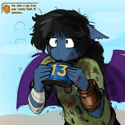 Size: 1800x1800 | Tagged: safe, artist:the-minuscule-task, oc, oc only, oc:ipomoea, bat pony, anthro, fallout equestria, anthro oc, bandage, bat pony oc, blood, blood stains, canteen, dirty, fallout, fallout: new vegas, female, mare, pipboy, solo, wings