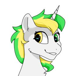Size: 1080x1080   Tagged: safe, artist:bbluna, oc, oc:aeira, unicorn, bust, heterochromia, looking at you