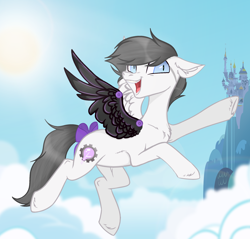 Size: 2092x2000 | Tagged: safe, artist:kim0508, oc, oc only, oc:snow bright, pegasus, pony, amputee, artificial wings, augmented, blue eyes, bow, canterlot castle, cloud, cute, flying, grey hair, happy, intersex, mechanical wing, owner:xheotris, pegasus oc, ponified, prosthetic limb, prosthetic wing, prosthetics, short hair, sky, solo, tail, tail bow, wings