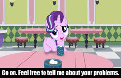 Size: 1920x1238 | Tagged: safe, starlight glimmer, empathy cocoa, food, looking at you, marshmallow, restaurant, stool, table, text