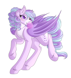 Size: 3354x3648 | Tagged: safe, artist:amazing-artsong, oc, oc:pixie stick, bat pony, pony, bubblegum, female, food, gum, high res, mare, simple background, solo, transparent background