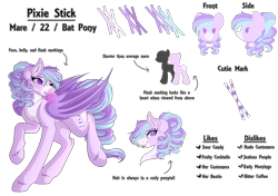 Size: 6700x4704 | Tagged: safe, artist:amazing-artsong, oc, oc:pixie stick, bat pony, pony, absurd resolution, bubblegum, female, food, gum, mare, reference sheet, simple background, solo, transparent background