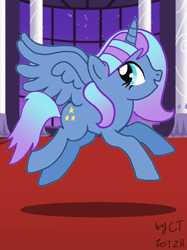 Size: 1080x1441   Tagged: safe, artist:crystal twilight, artist:starlight brilliant, oc, oc only, oc:starlight resplendent, alicorn, pony, alicorn oc, excited, female, jumping, solo, tail, wings