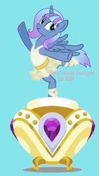 Size: 1080x1920   Tagged: safe, artist:crystal twilight, artist:starlight brilliant, oc, oc only, oc:starlight resplendent, alicorn, pony, alicorn oc, ballerina, blue background, clothes, female, jewelry, music box, simple background, solo, tail, tutu, wings