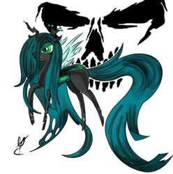 Size: 604x608 | Tagged: safe, artist:sandeline, queen chrysalis, oc, insect, canon x oc, colored, dark, evil, female, simple background, white background