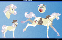 Size: 1356x885 | Tagged: safe, artist:bijutsuyoukai, oc, oc:pale apple, earth pony, bag, hat, magical gay spawn, male, offspring, parent:braeburn, parent:double diamond, parnets:doubleburn, saddle bag, solo, stallion