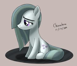 Size: 1332x1151 | Tagged: safe, artist:chiruchiru, marble pie, earth pony, pony, female, mare, sad, signature, sitting, solo