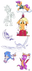 Size: 1280x2822 | Tagged: safe, artist:tsitra360, applejack, princess luna, rainbow dash, scootaloo, alicorn, dragon, earth pony, lugia, pegasus, pony, gamer luna, bubblegum, cloud, farm, floppy ears, food, giant pony, growth, gum, hoogie, macro, nintendo switch, pokémon, rainbow crash, simple background, size difference, sonic the hedgehog, sonic the hedgehog (series), spyro the dragon, toxtricity, underhoof, white background
