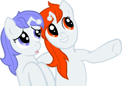 Size: 1145x807 | Tagged: safe, artist:hellofacopter, oc, oc only, oc:discentia, oc:karma, pony, unicorn, duo, female, mare, meme, ponified, reddit, simple background, toy story, transparent background, x x everywhere