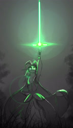 Size: 3000x5236 | Tagged: safe, artist:zidanemina, captain celaeno, anthro, avian, my little pony: the movie, armpits, black background, crossguard lightsaber, crossover, female, jedi, lens flare, lightsaber, simple background, sketch, solo, star wars, sword, weapon