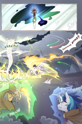 Size: 960x1440 | Tagged: safe, artist:cold-blooded-twilight, nightmare moon, princess celestia, shining armor, oc, oc:blazing saddles, comic:cold storm, cloud, cloudy, comic, dialogue, dust, explosion, fire, raised wings, robes, torch, tornado