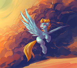 Size: 2387x2112 | Tagged: safe, artist:dragonataxia, lightning dust, pegasus, pony, cloud, female, flying, high res, mare, sky, solo