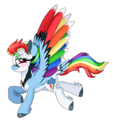 Size: 1535x1655 | Tagged: safe, artist:unoriginai, rainbow dash, pegasus, pony, leak, spoiler:g5, colored wings, female, g5, hooves, mare, multicolored wings, rainbow dash (g5), rainbow wings, raised hoof, redesign, simple background, smiling, smirk, solo, spread wings, transparent background, wings