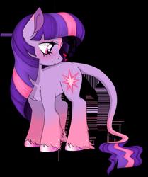 Size: 1302x1560 | Tagged: safe, artist:unoriginai, twilight sparkle, earth pony, pony, unicorn, leak, spoiler:g5, earth pony twilight, female, g5, hooves, leonine tail, mare, redesign, simple background, solo, transparent background, twilight sparkle (g5)