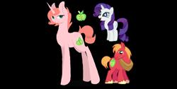 Size: 1370x691 | Tagged: safe, artist:magicuniclaws, big macintosh, rarity, oc, pony, unicorn, female, male, mare, offspring, parent:big macintosh, parent:rarity, parents:rarimac, rarimac, shipping, simple background, straight, transparent background